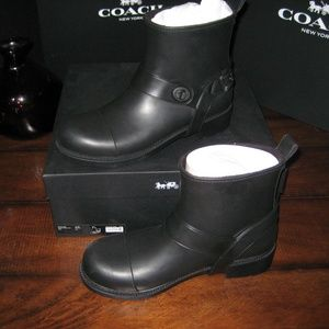 Coach Moto Rain Boots Size 9 **Missing Charm**